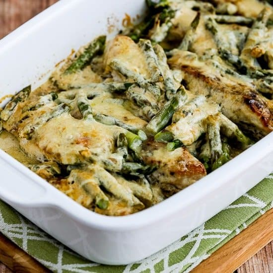 Simple keto casserole with chicken and asparagus inside on top of green placemat