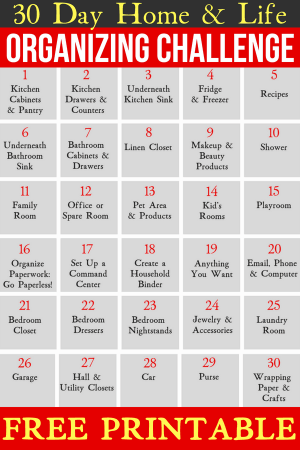 30 Day Organizing Challenge For Your Home & Life, Free Printable Organization Challenge #organization #organizing #organize #organise #declutter