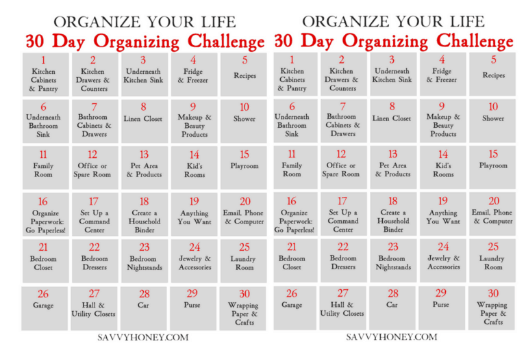30 Day Organizing Challenge To Declutter Your House & Life – Free Organization Printable