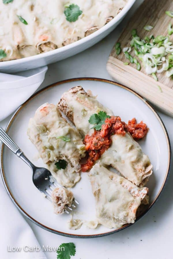 Low Carb Chicken Enchiladas with Cream Cheese