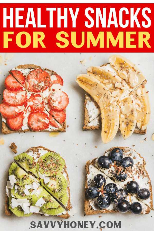 Healthy whole grain toast with cream cheese, fruit, and seeds on top