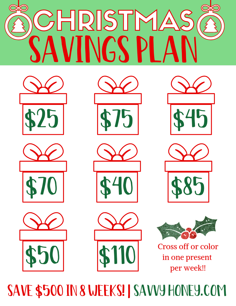 Christmas Savings Plan Free Downloadable PDF Printable