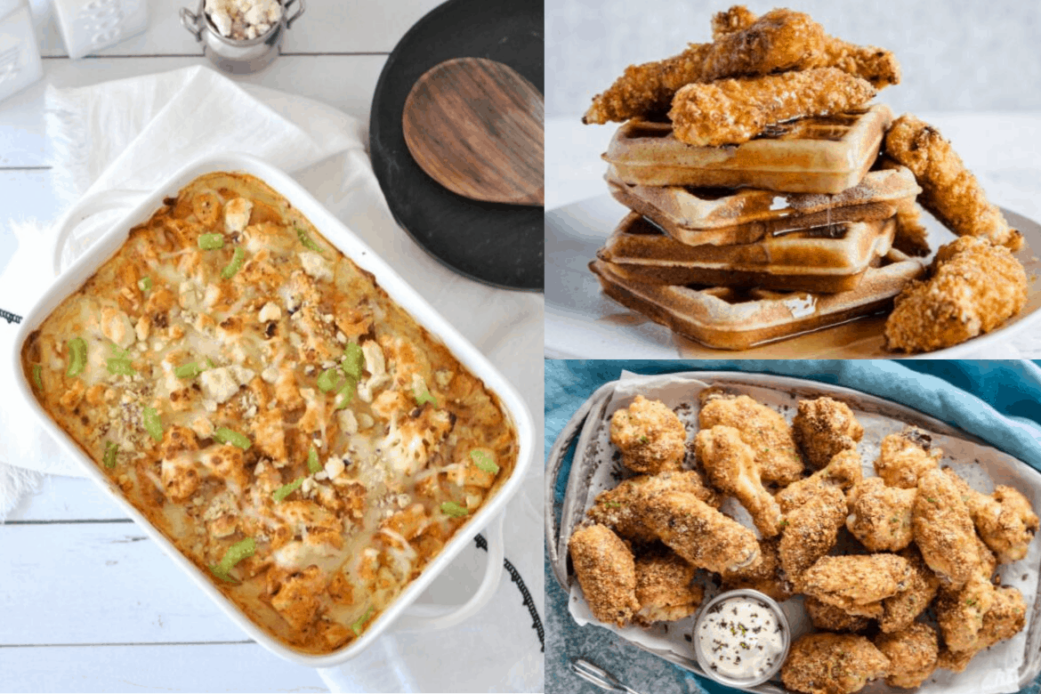 Collage of ketogenic chicken recipes, casserole, one plate of wings and plate of waffles and fried chicken with syrup