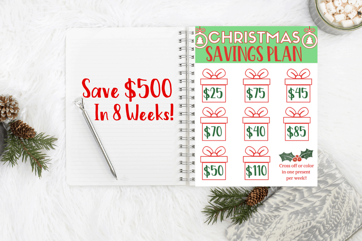 Holiday Savings plan in notebook with pen & hot cocoa and sweater in the background