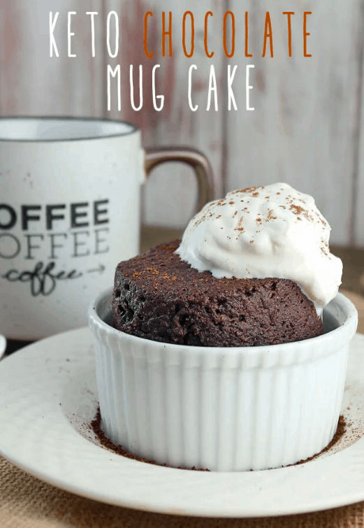 Keto Chocolate mug cake in white bowl with cofee cup in background and word overlay