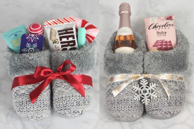 4 Cute DIY Christmas Slippers Gift Basket Ideas