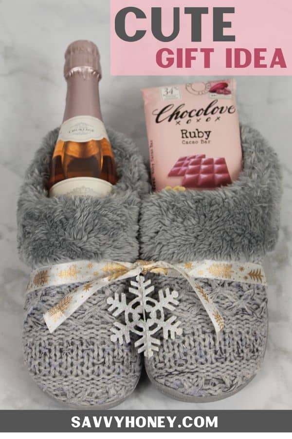 Grey slippers filled with wine and chocolate gift