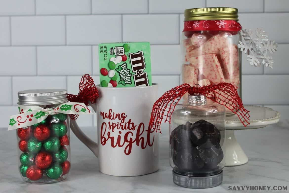 DIY Dollar tree gifts side by side, candy jar, dollar store mug with candy, ornament with candy, mason jar with candy