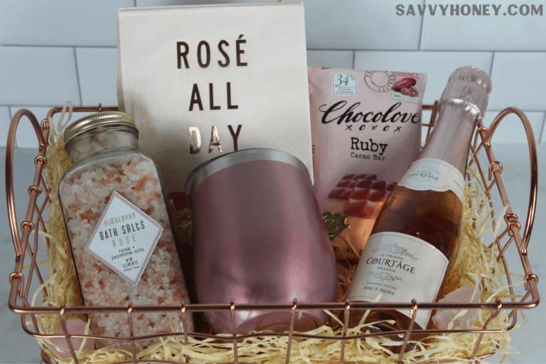 Cute DIY Rosé Wine Gift Basket Idea For Women