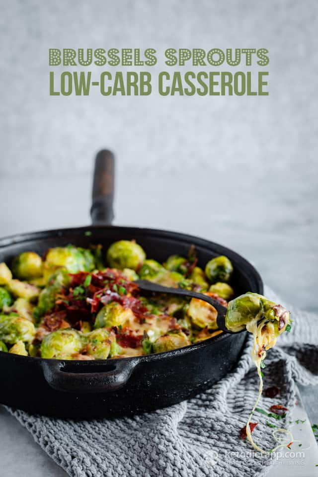 Brussel Sprouts Low Carb Casserole in skillet with sppon