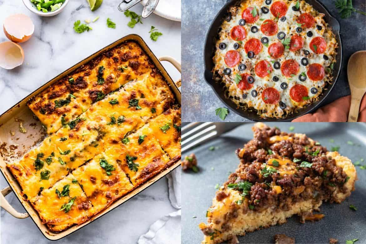 Low Carb casserole recipe collage: left cheesy casserole with piece cut out, tot the right keto pizza casserole skillet with pepporoni and cheese topping, bottom left slice of casserole on blue plate