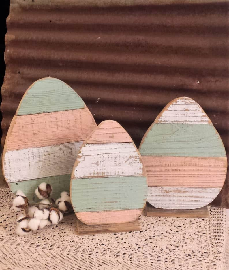 Rustic egg easter decor made of wood