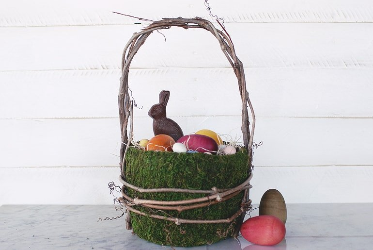 Moss Easter Basket with bunny and eggs inside
