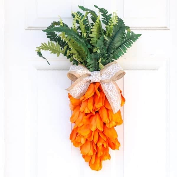 Easter carrot wreath on outside white door decoration