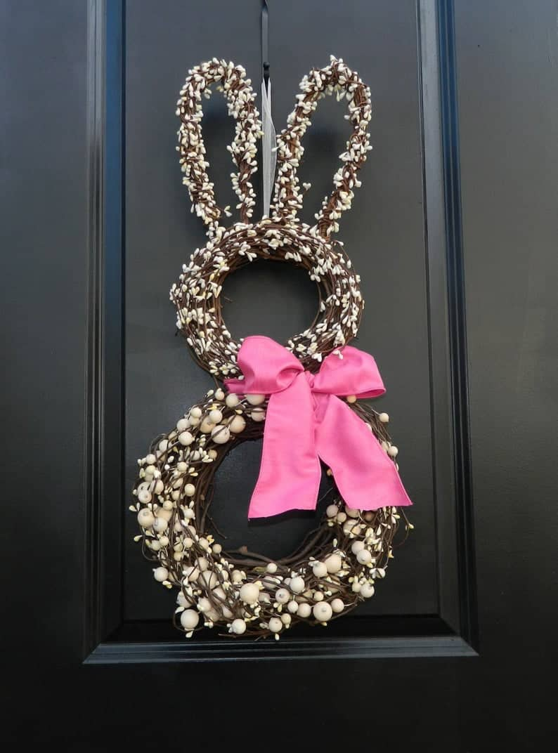 Easter bunny wreath on black door