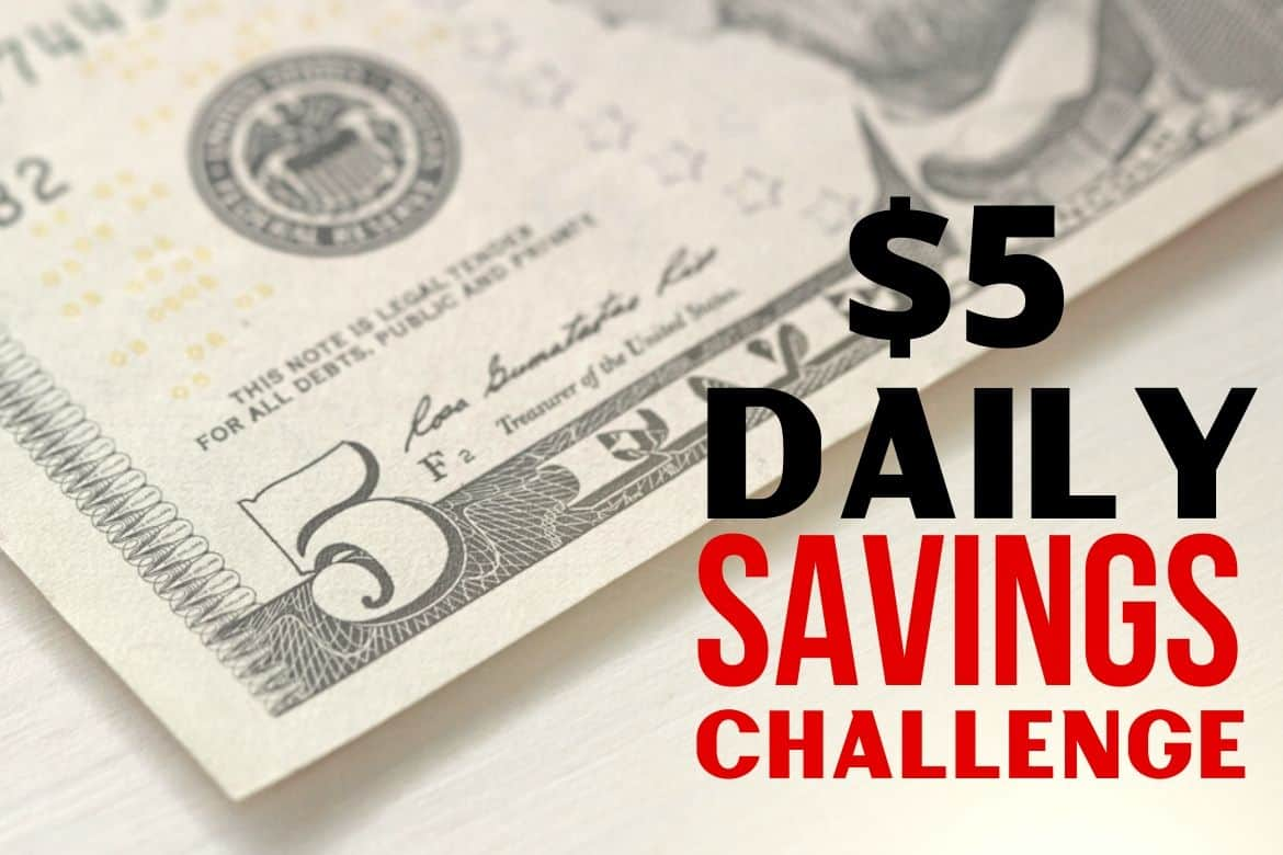 "$5 bill with wording ""$5 Daily Savings Challenge"" in red and black lettering"