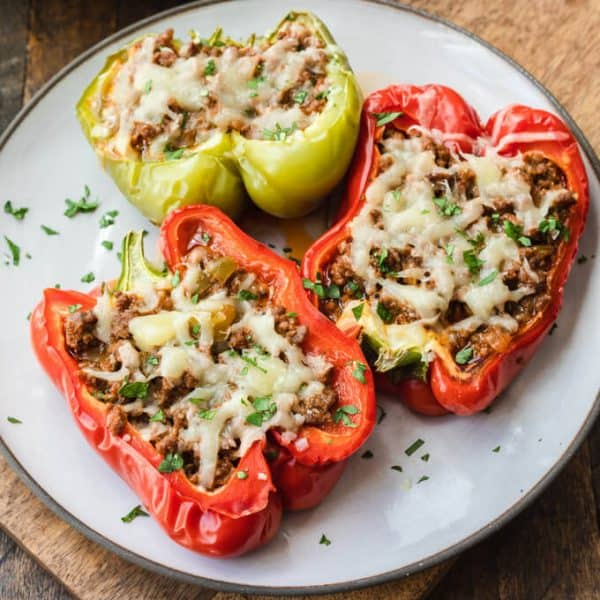 stuffed peppers on white plate