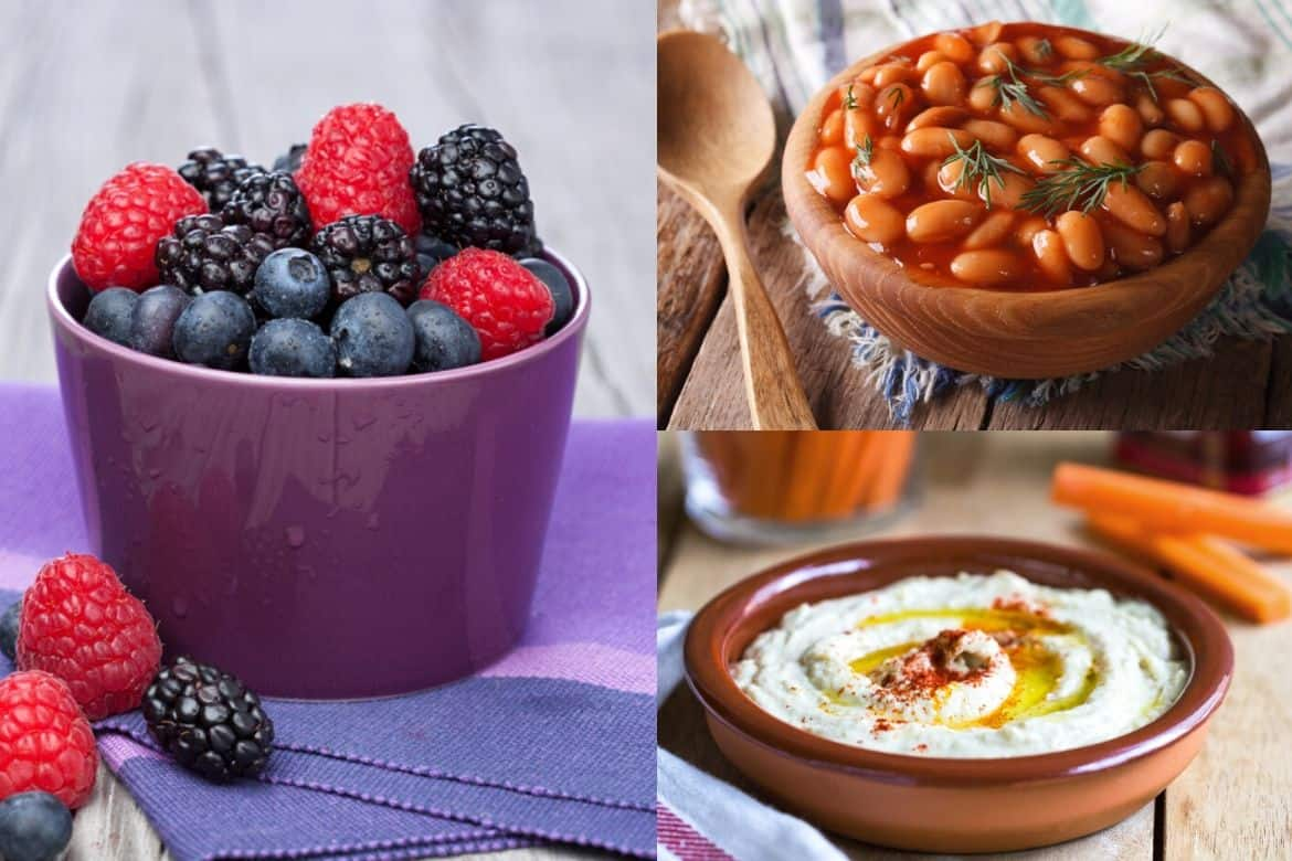 collage of weight loss foods, berries in purple bowl, beans in brown bowl, and hummus in brown bowl
