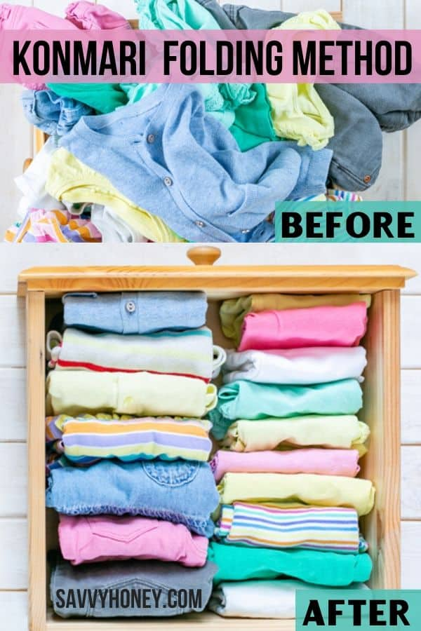 Unfolded clothes before, after clothes neatly folded in drawer