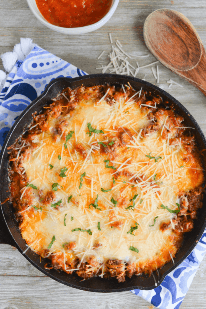 Cheesy Keto Lasagna Casserole In a Black Skillet