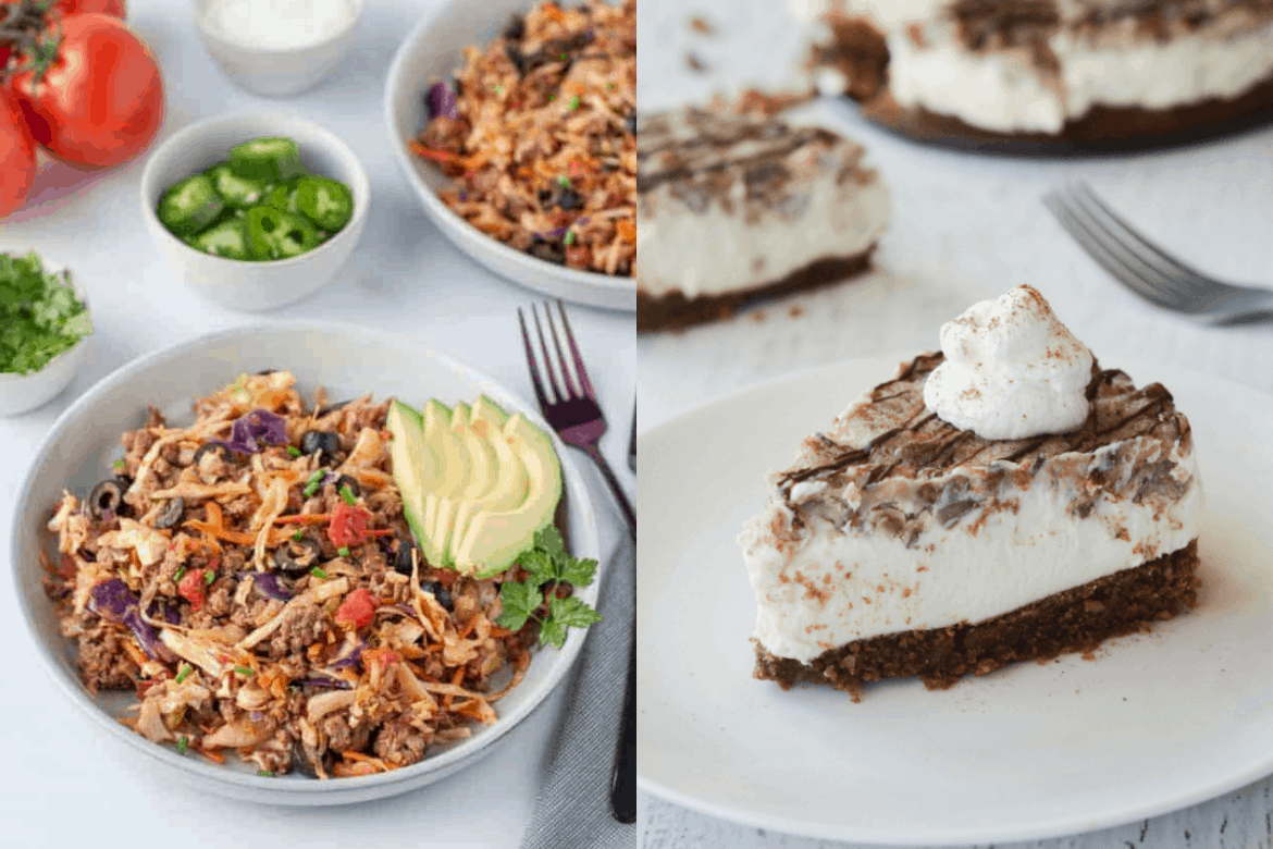 Two keto recipes for beginners, left side bowl of keto mexican slaw with avocado slices and chilis in the background, left side piece of keto pie on white plate topped with whipped cream