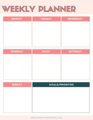 weekly planner printable with coral and dark blue boxes labeled with the days of the week to organize your homeschool schedule and to do list