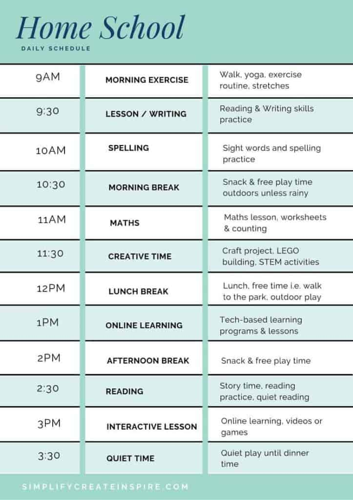 Homeschool daily schedule printable with three columns labeling kid activities and lessons in different time slots, turquoise and blue columns