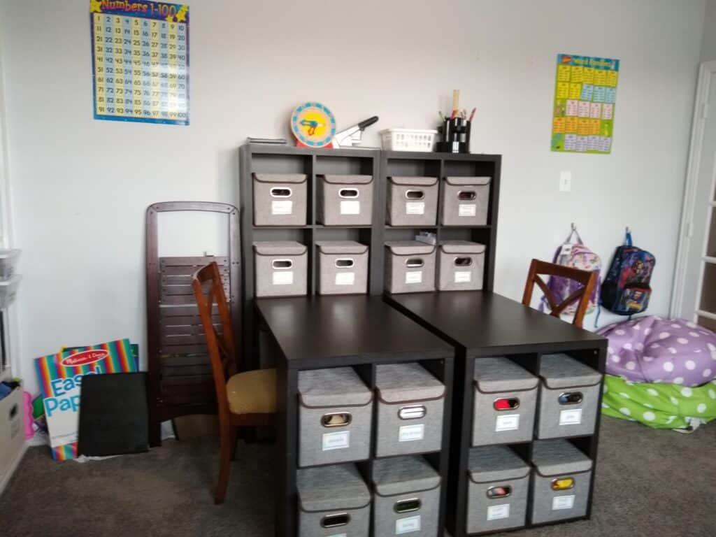 Desk for homeschool side by side with chairs next to them. Desk has built in storage with grey storage boxes. Two bean bags in right hand corner and kids backpacks hanging on hooks and learning posters on white wall
