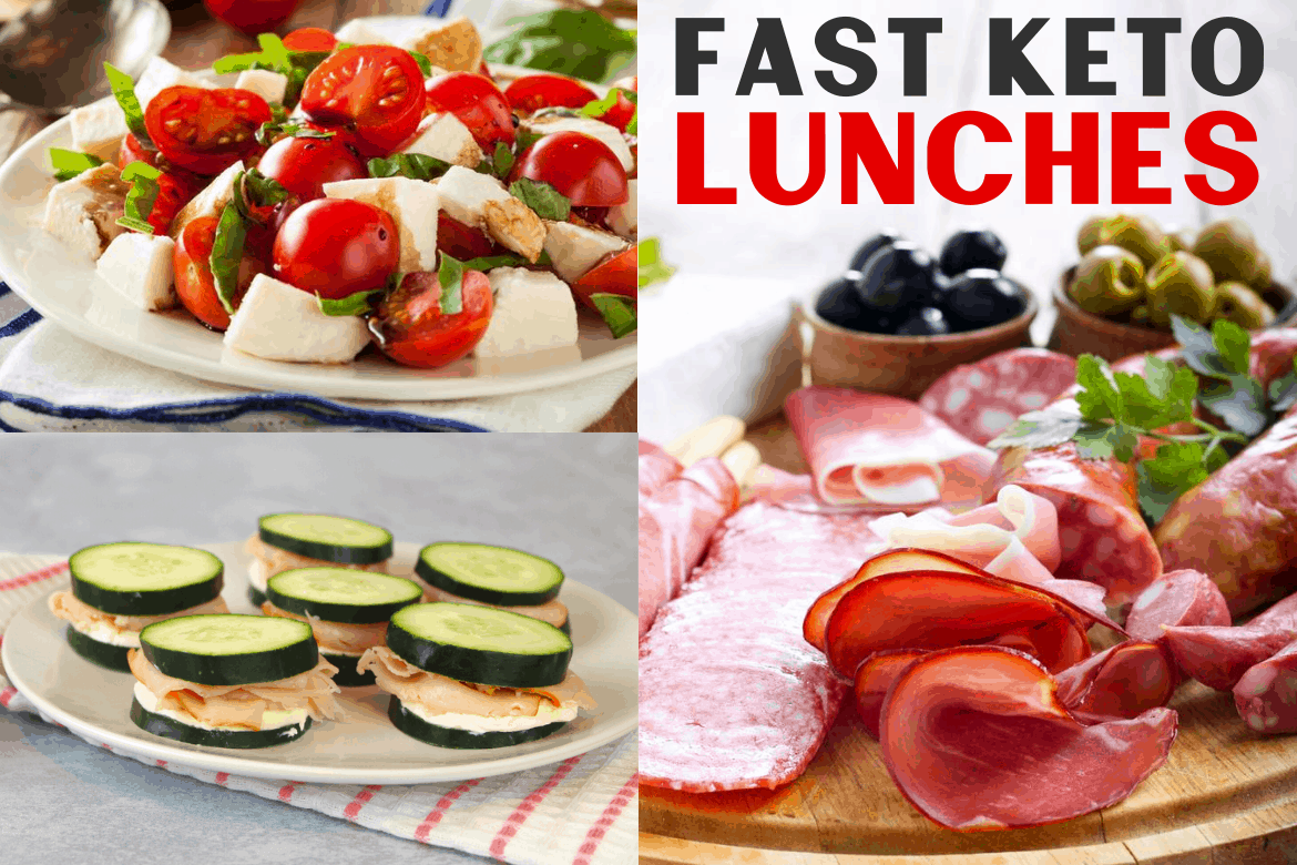 Fast keto lunches collage. On right wood platter of keto-friendly meats and bowl of olives, on left upper low carb caprese salad on a white plate, left lower is ketogenic diet cucumber sandwiches on a white plate with coral and white striped towel underneath.