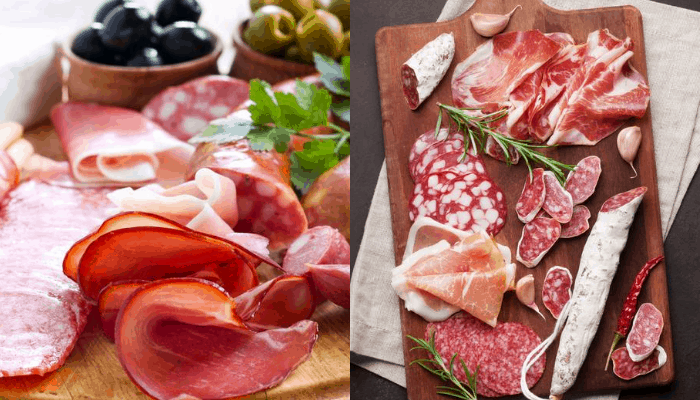 Charcuterie board, a quick keto lunch idea. Collage image, (left image) deli meats two bowls of black and green olives spread out on a board. (Right Image) Salami slices and whole salami and other cold cuts spread out on a wood serving board and garnished with rosemary sprigs.