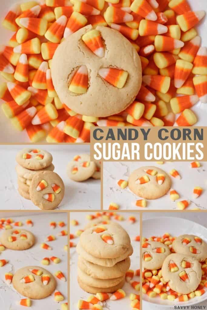 Candy corn sugar cookie collage. All different images of candy corn baked goods.