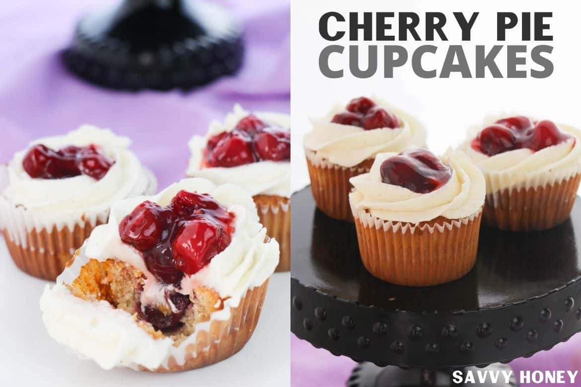 Cherry pie cupcakes on a black cake stand with purple background pictured on the right. Left image is three cherry cupcakes with the front cupcake cut into and the cherry pie canned filling oozing out with a purple background.