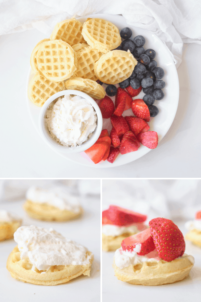 Plate with sweet waffle sandwich ingredients including frozen mini waffles, strawberries, blueberries and whipped cream in a little white bowl on a white plate, bottom right image is a waffle with Cool whip spread on it and left bottom image is a waffle with strawberries and cream on top, all images on a white background